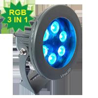 Đèn chiếu điểm 18W đa sắc 3in1 mẫu B (đa sắc có điều khiển)