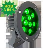 Đèn chiếu điểm 27W đa sắc 3in1 mẫu B (đa sắc có điều khiển)