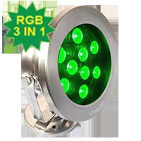 Đèn chiếu nước 27W RGB 3in1 DMX mẫu C (điều khiển DMX512)